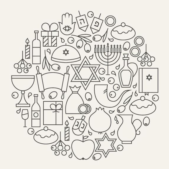 hanukkah line art